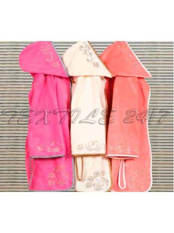 Женский натуральный халат с вышивкой (короткий с капюшоном)